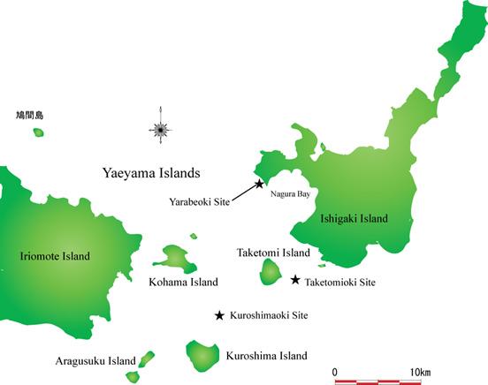 八重山諸島に位置する海底遺跡群
